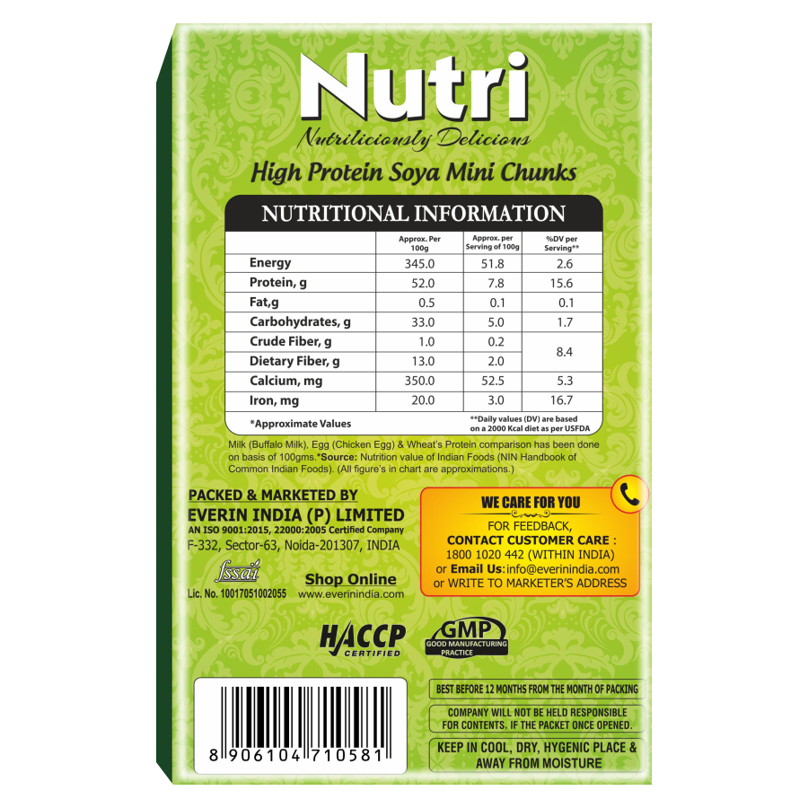 EVERIN NUTRI HIGH PROTEIN AND HEALTHY GLUTEN FREE SOYA MINI CHUNKS