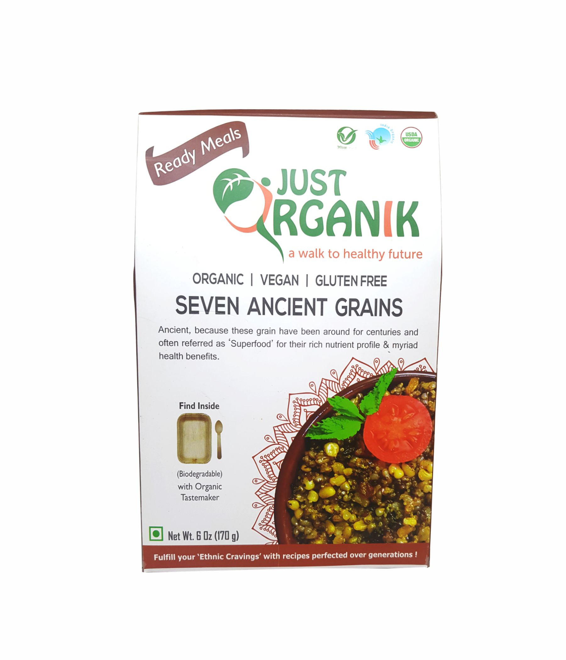JUST ORGANIK READY TO EAT MEALS - SEVEN ANCIENT GRAINS